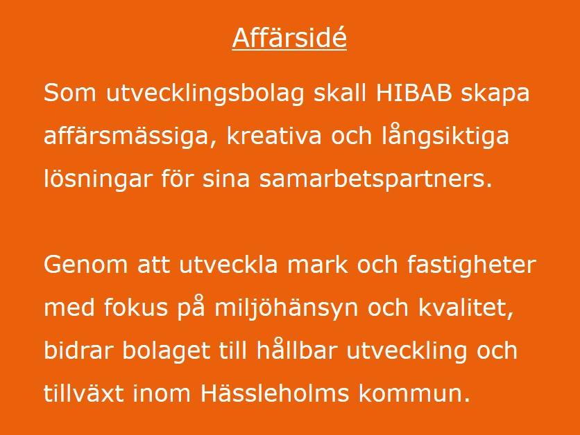 Affärsidé - som utvecklingsbolag skall Hibab skapa affärsmässiga, kreativa och långsiktiga lösningar för sina samarbetspartners. Genom att utveckla mark och fastigheter med fokus på miljöhänsyn och kvalitet, bidrar bolaget till hållbar utveckling och tillväxt inom Hässleholms kommun.